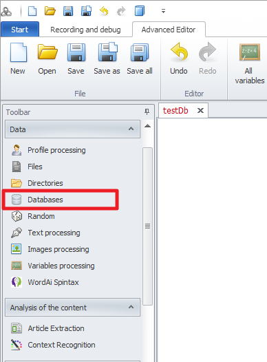 ZennoPoster France en:database1 Utilisation / Intégration d'une base de donnée dans un projet