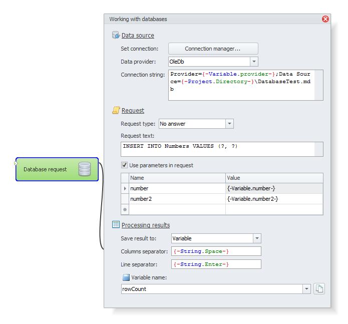 ZennoPoster France en:database2 Utilisation / Intégration d'une base de donnée dans un projet
